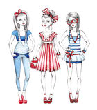 Fashion girls illustration Stock Photos