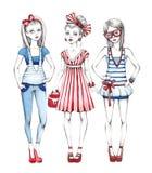 Fashion girls illustration Stock Photos