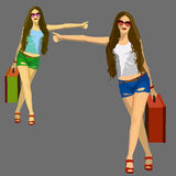 Fashion girls illustration set. Isolated on White background. Vector illustration Royalty Free Stock Photo