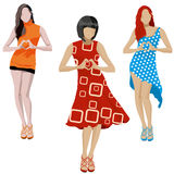 Fashion girls illustration set. On White background. Vector illustration Stock Photos