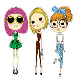 Fashion girls. Illustration of fashion sketch girls royalty free illustration