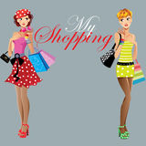 Fashion girls, my shopping, beautiful woman face Royalty Free Stock Photo