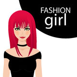 A fashion girls with red hair. Stock Photo