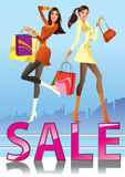 Fashion girls in sale campaign Stock Images