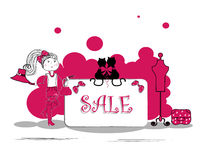 Fashion girls in sale campaign - vector illustrati Stock Photos