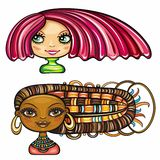 Fashion girls series 1. 2 cool hair styles on beautiful girls: Chic girl with a short stylish haircut with bright pink high lights, and African american cute Stock Image