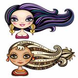 Fashion girls series 3. 2 cool hair styles on beautiful girls Royalty Free Stock Image