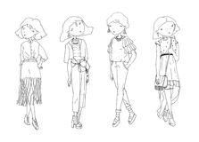 Fashion  girls set. Hand drawn creative illustration with lovely black and white girls in casual clothes with bags, shoes. I Royalty Free Stock Photos
