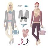 Fashion girls set Stock Images