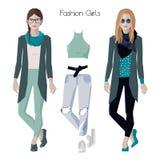 Fashion girls set Stock Photo