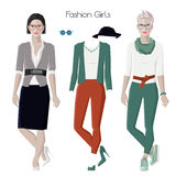 Fashion girls set Royalty Free Stock Photography
