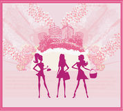 Fashion girls Shopping background Royalty Free Stock Photography