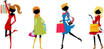 Fashion girls with shopping bag. Illustration of four fashion girl with bag Royalty Free Stock Photography