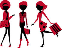 Fashion girls with shopping bag. Illustration of three fashion girl with bag Royalty Free Stock Photography