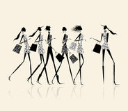 Fashion girls with shopping bags, illustration Stock Image