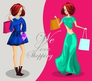 Fashion girls with shopping bags. We love shopping banner, Fashion girl cartoon character. Vector illustration Stock Images