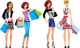 Fashion girls, shopping girl, woman face. Vector illustration of fashion girls, shopping girl, woman face vector illustration