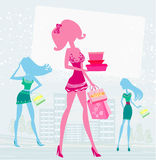 Fashion girls Shopping Royalty Free Stock Photos