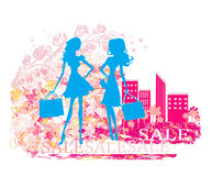Fashion  girls Shopping Stock Images