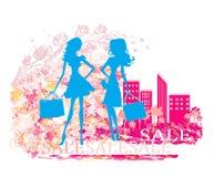 Fashion  girls Shopping. Fashion silhouettes girls Shopping,  illustration Stock Images