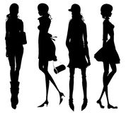 Fashion girls silhouette Royalty Free Stock Photography