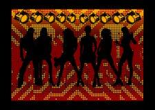 Fashion Girls Silhouette. Orange Red Lights Backgrounds Scene. Fashion Girls Silhouette Royalty Free Stock Image