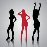 Fashion Girls Silhouettes. Dance Party with a Fashion Girls Silhouettes Royalty Free Stock Photography