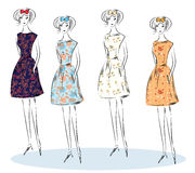 Fashion girls sketch Royalty Free Stock Image