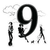 Fashion girls in sketch style with number nine. Vector illustration Stock Image