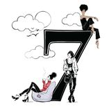 Fashion girls in sketch style with number seven. Vector illustration Royalty Free Stock Image