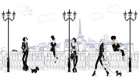 Fashion girls in sketch-style in Paris. Fashion woman portrait. Vector illustration Royalty Free Illustration