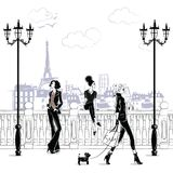 Fashion girls in sketch-style in Paris. Fashion woman portrait. Vector illustration Stock Illustration