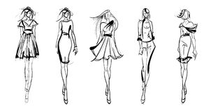Fashion girls Sketch. Stylish fashion models. Pretty young girls. Fashion girls Sketch Royalty Free Stock Images