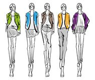 Fashion girls Sketch. Stylish fashion models. Pretty young girls. Fashion girls Sketch Stock Image