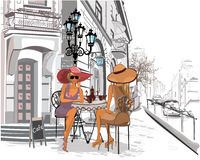 Fashion girls in the street cafe. Hand drawn vector architectural background with historic buildings royalty free illustration