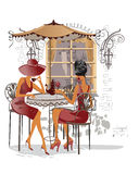 Fashion girls in the street cafe. Series of street cafes in the city with people drinking coffee. Girl in the street cafe royalty free illustration