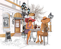 Fashion girls in the street cafe. Series of street views in the old city. Hand drawn vector architectural background with historic buildings and cafes stock illustration