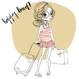 Fashion girls with suitcases stock illustration