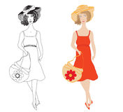 Fashion girls in  sundress with trendy hat and  ha Royalty Free Stock Image