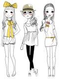 Fashion girls. Three fashion girls ,cartoon art stock illustration