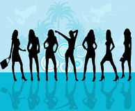 Fashion girls -  vector. Fashion girls and background with palms - vector Royalty Free Stock Photo