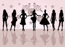 Fashion girls -  vector illustration. High detailed elegant sexy young model Stock Photos