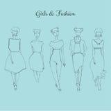 Fashion girls. Vector set of hand drawn style beautiful fashion girls Stock Photos