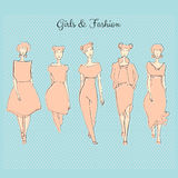Fashion girls. Vector set of hand drawn style beautiful fashion girls Stock Image