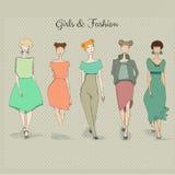 Fashion girls. Vector set of hand drawn style beautiful fashion girls Stock Images