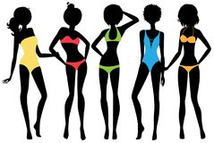 Fashion girls wear swimsuit. Five silhouettes isolated on white background Stock Photography