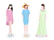Fashion girls wearing dresses Royalty Free Stock Photography