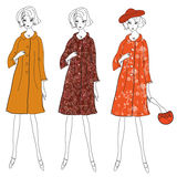 Fashion girls in winter coats vector illustration