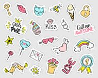 Fashion girly stickers set.  Collection of hand drawn fancy. Doodle pins, badges. Vector trendy illustration Royalty Free Stock Image