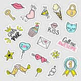 Fashion girly stickers set.  Collection of hand drawn fancy doodle pins, badges. Vector trendy illustration Royalty Free Stock Images